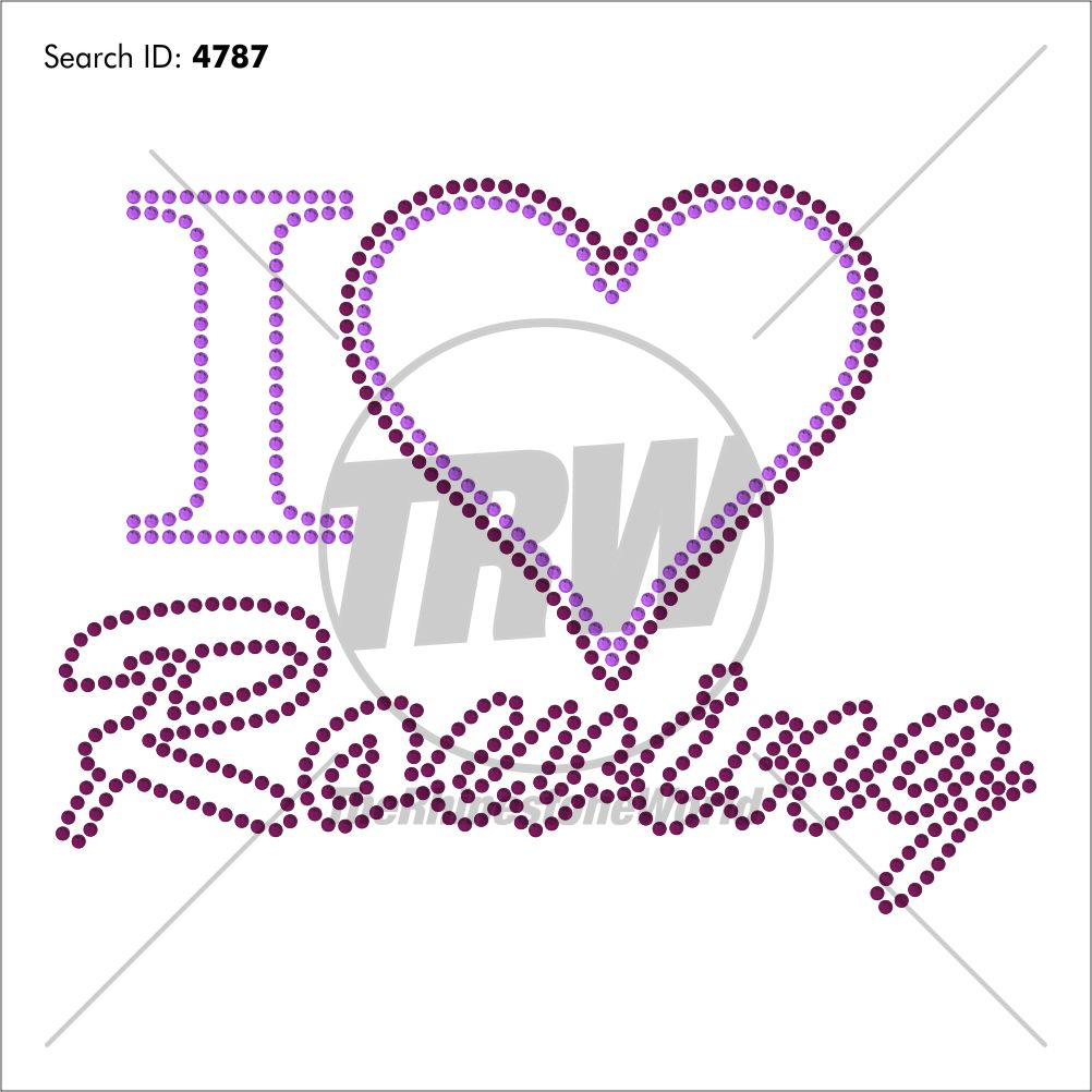 I HEART ROWING Rhinestone Design - Download