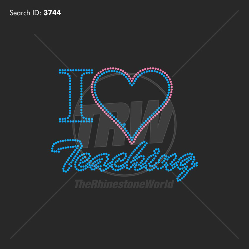 I Heart Teaching Rhinestone Design - Download