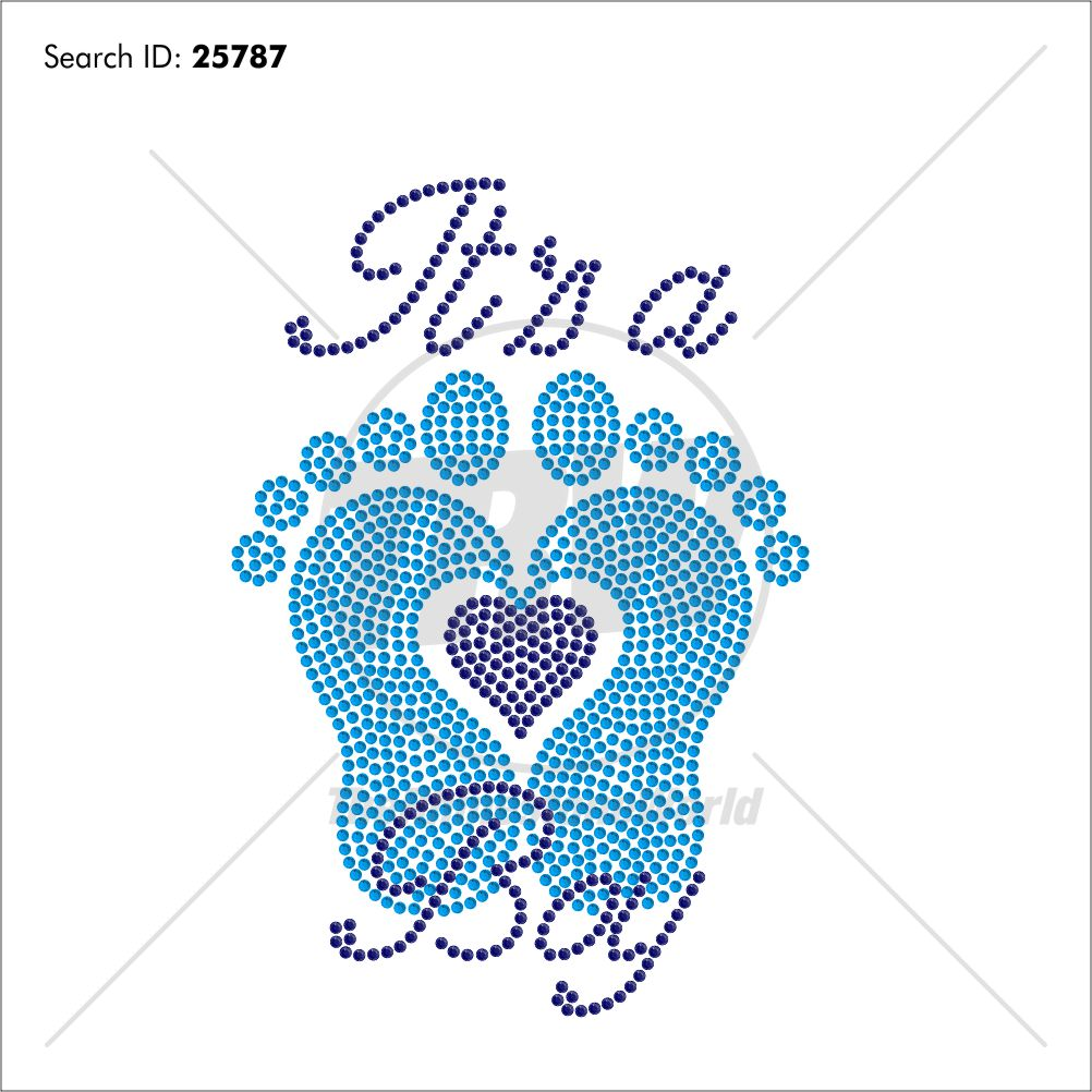 It's A Boy Rhinestone Design - Pre-Cut Template