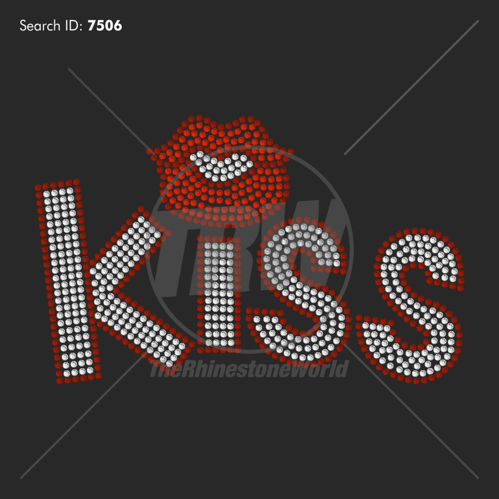 KISS ME LIPS 99 Rhinestone Design - Pre-Cut Template