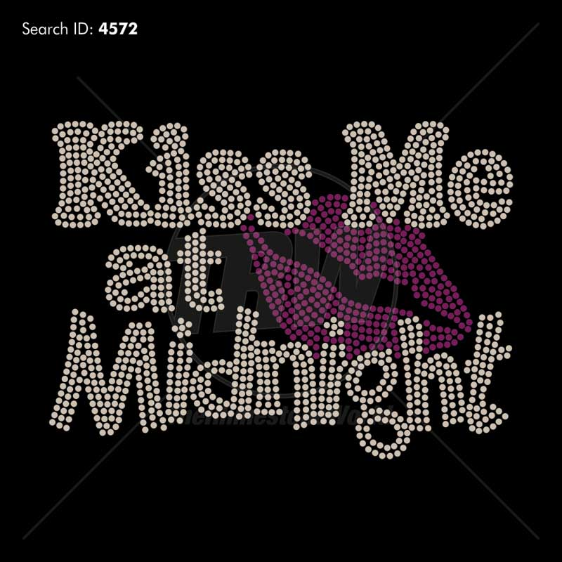 Kiss Me at Midnight Rhinestone Design - Pre-Cut Template