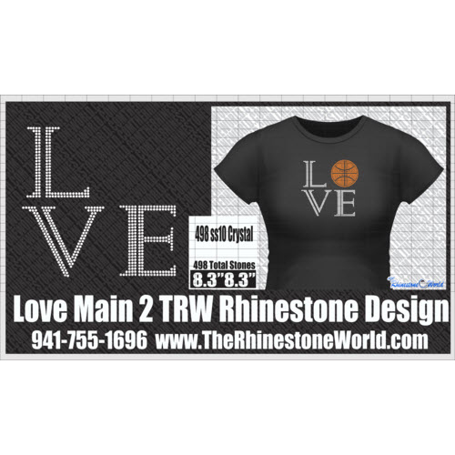 LOVE MAIN 2 Rhinestone Design - Pre-Cut Template
