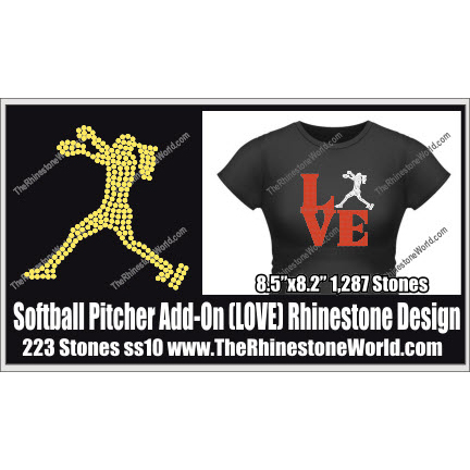 LOVE Softball Pitcher ADD-ON Rhinestone Design - Pre-Cut Template