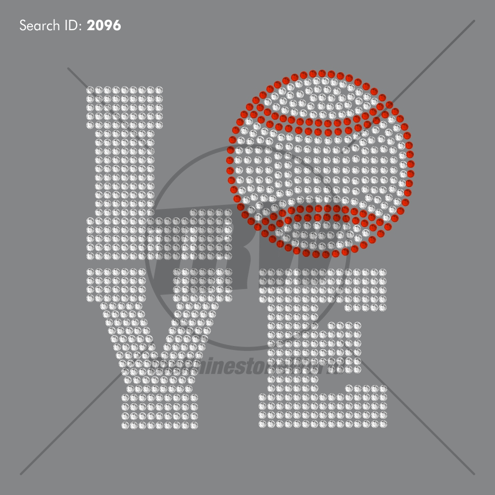 Love Baseball 1 Rhinestone Design - Pre-Cut Template