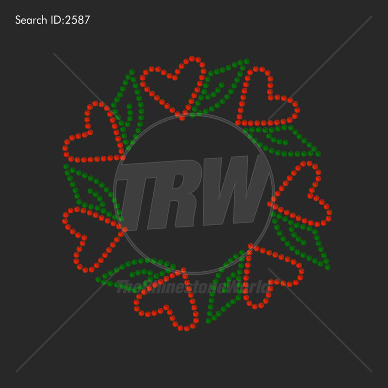 Love Christmas Wreath Rhinestone Design - Download