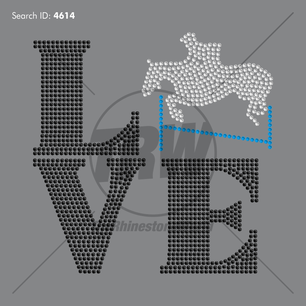 Love Equestrian Add-On Rhinestone Design - Pre-Cut Template