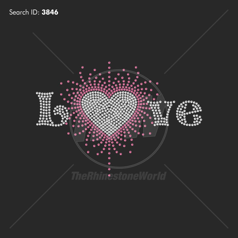 Love Heart Scattered Rhinestone Design - Download
