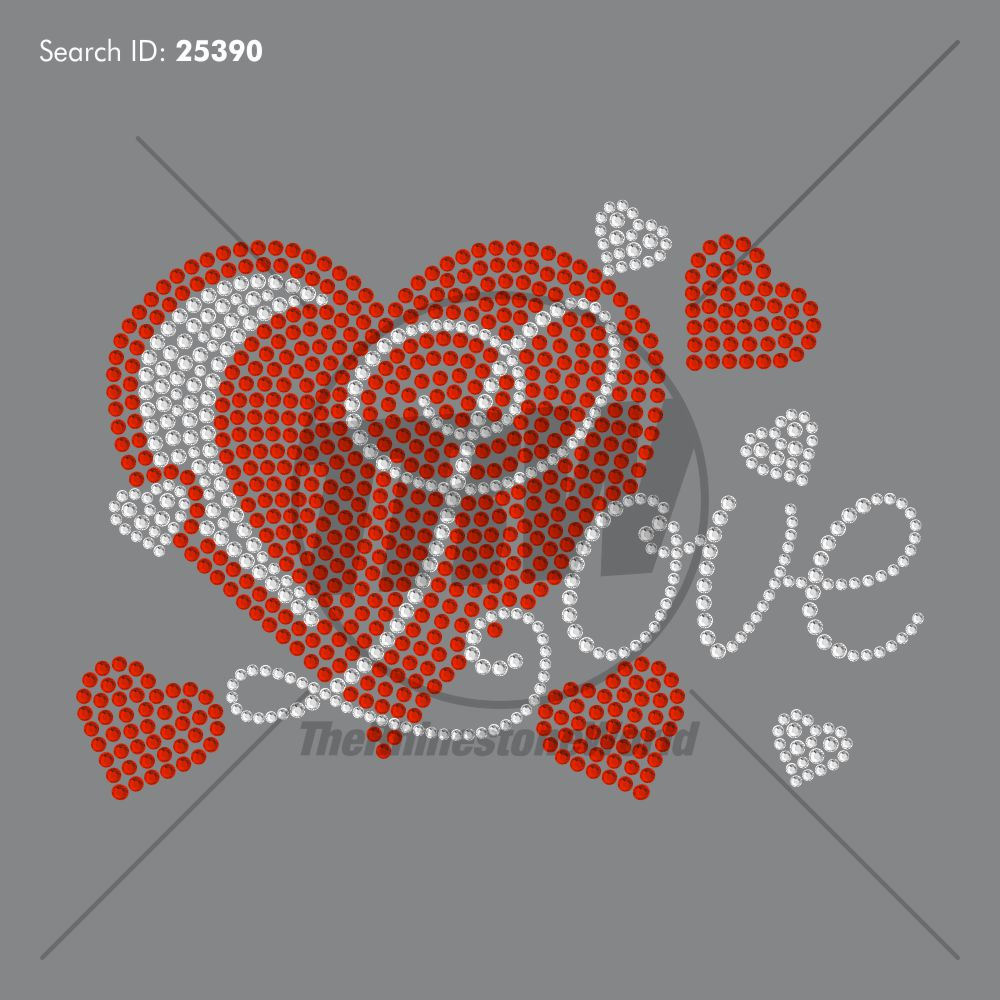 Love Hearts Script 14 Rhinestone Design Download - Pre-Cut Template