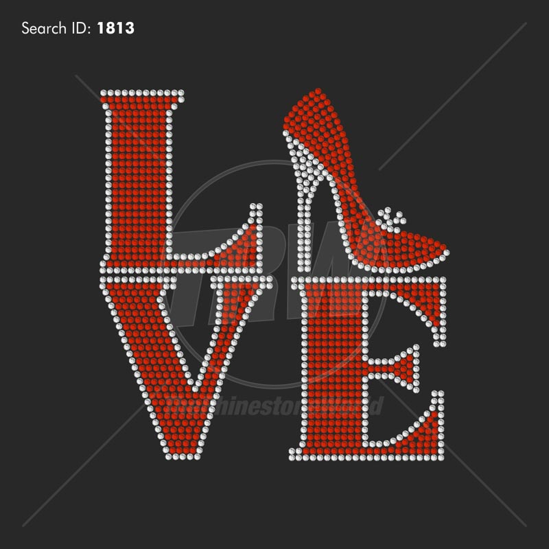 Love Heels Rhinestone Design - Pre-Cut Template