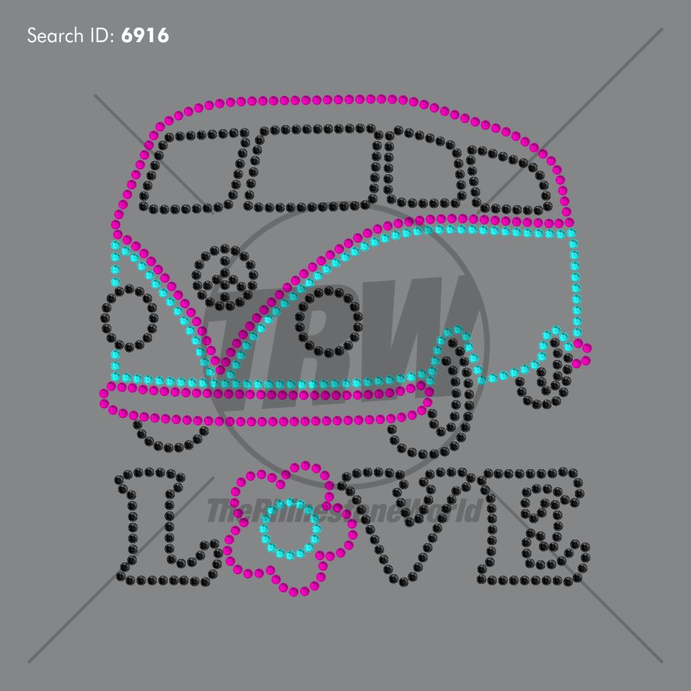 Love Van Rhinestone Design - Pre-Cut Template