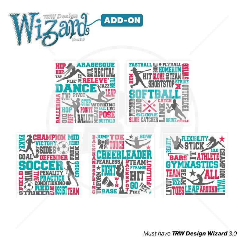 TRW Magic Pattern Pack Vol. 11 Sport Terms Girls for TRW Design Wizard - Download