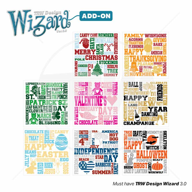 TRW Magic Pattern Pack Vol. 13 Holiday Terms for TRW Design Wizard 3.0 - Download