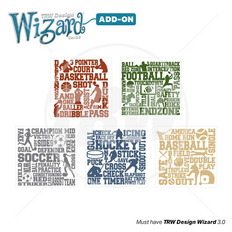 TRW Magic Pattern Pack Vol. 9 Sport Terms for TRW Design Wizard 3.0 - Download