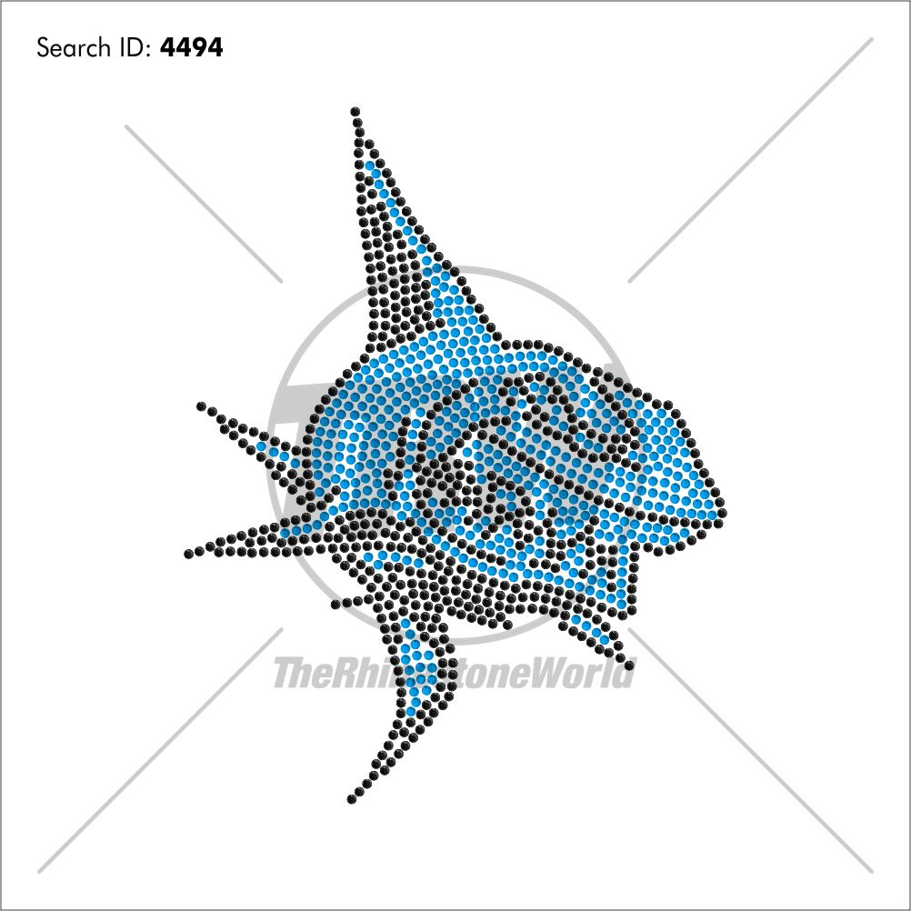 Mega Sharks Rhinestone Design - Pre-Cut Template