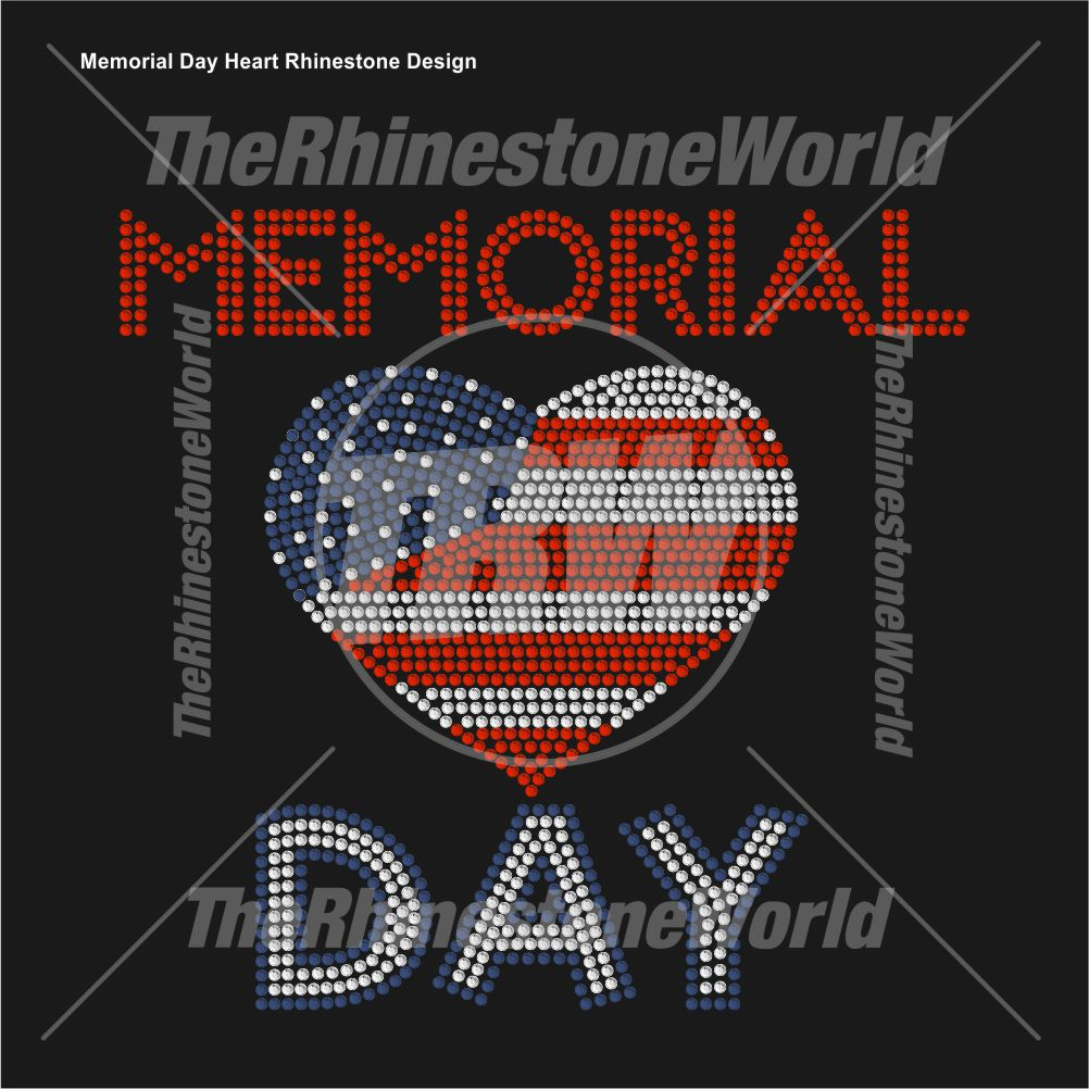 Memorial Day Heart Rhinestone Design - Download
