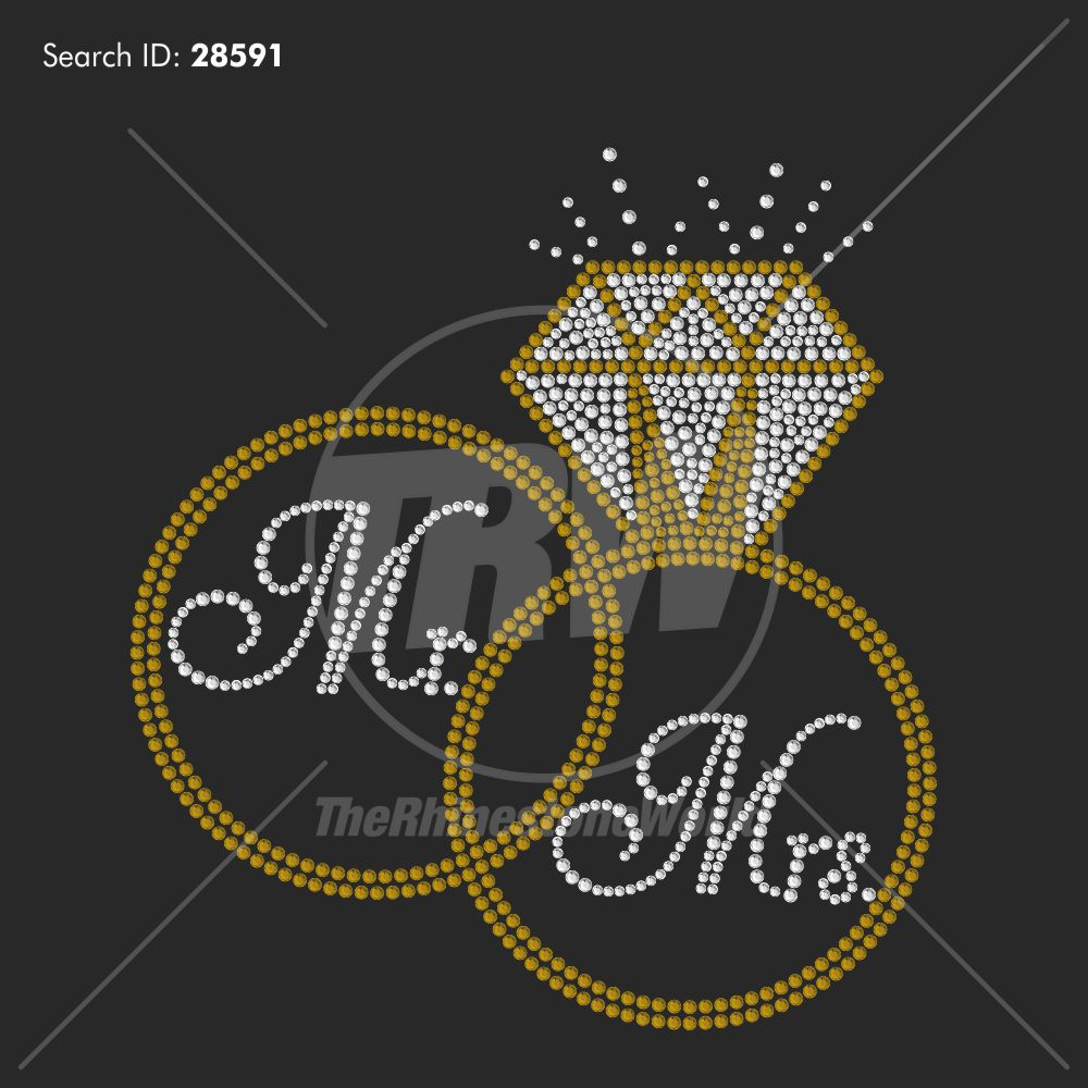 Mr And Mrs Bands Rhinestone Design - Download