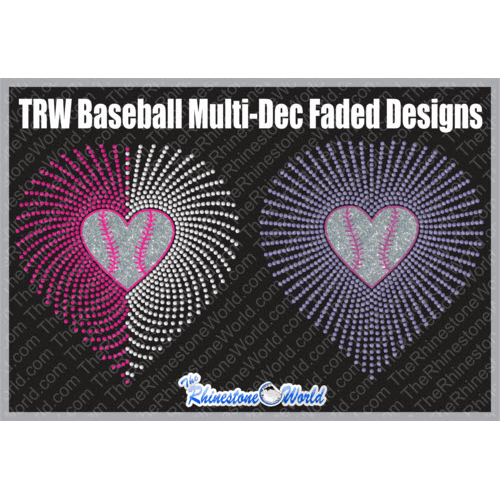 Multi-Dec Faded Baseball Heart Pack   - Download