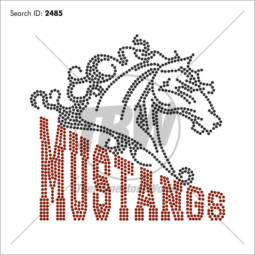 Mustangs 55 Rhinestone Design - Pre-Cut Template