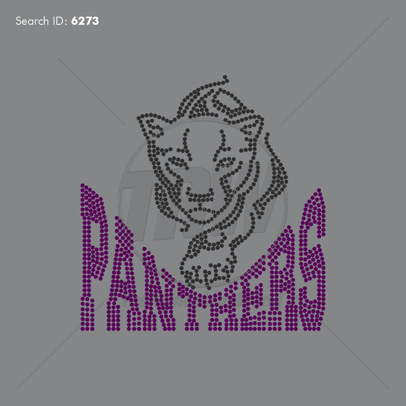 Panthers 55 Rhinestone Design - Pre-Cut Template
