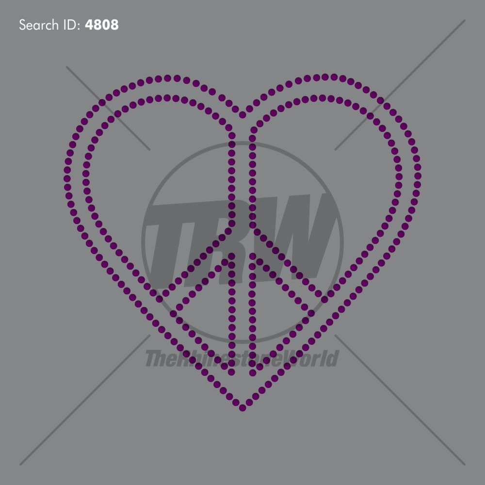 Peace Heart Rhinestone Design - Pre-Cut Template