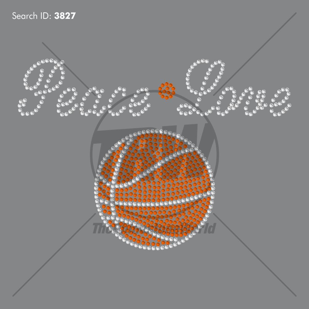 Peace Love Basketball Script Rhinestone Design - Pre-Cut Template