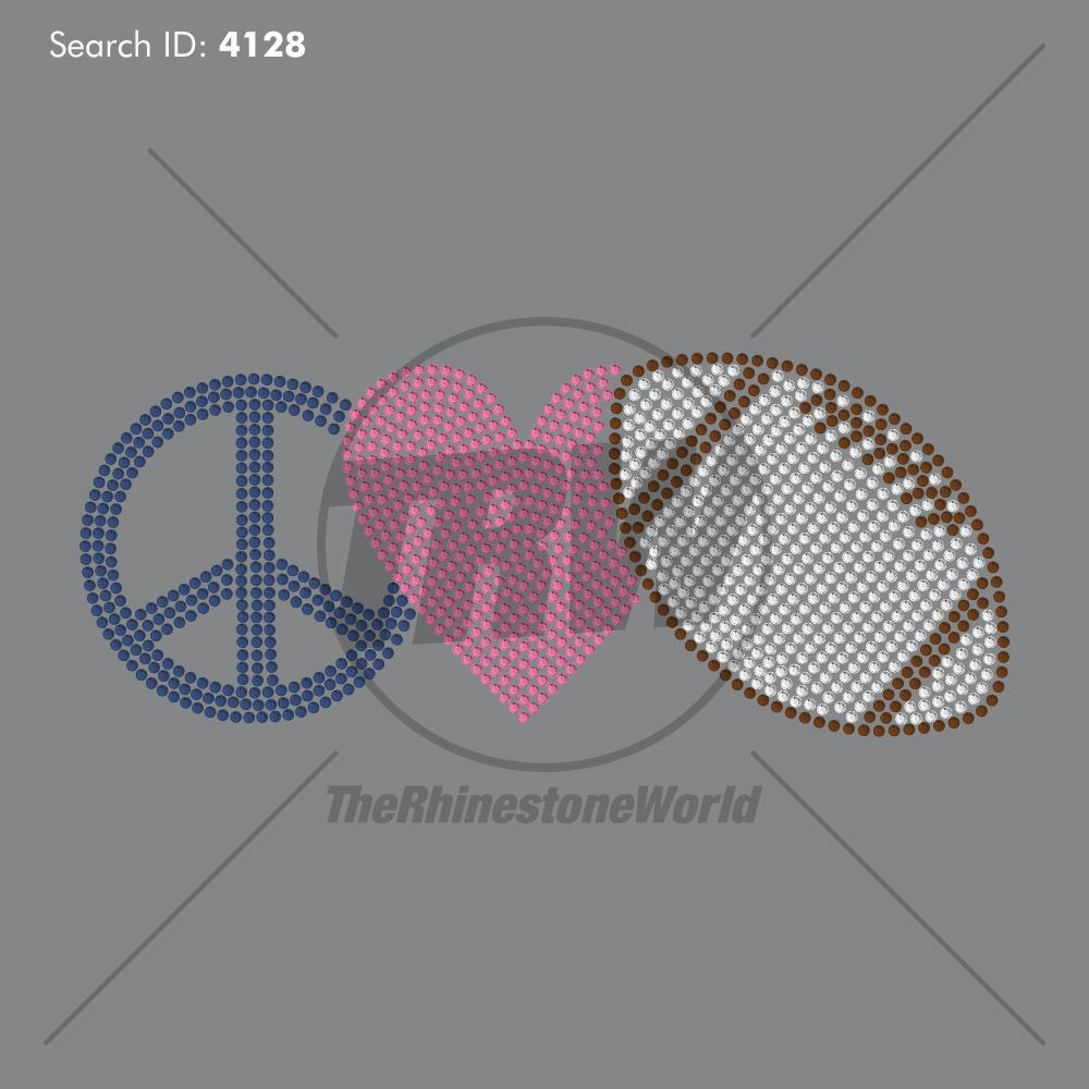 Peace Love Football Rhinestone Design - Download