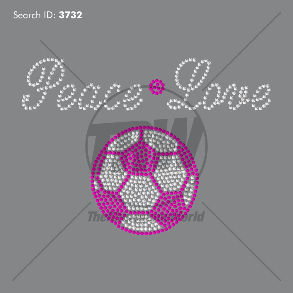 Peace Love Soccer Script Rhinestone Design - Download