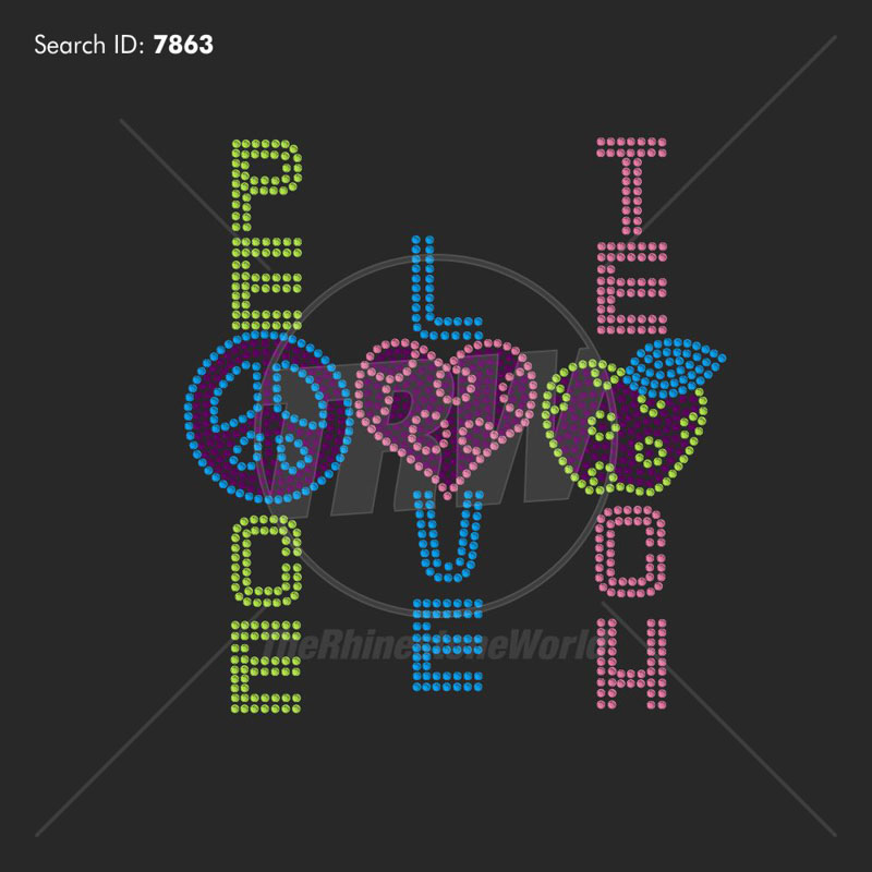 Peace Love Teach Rhinestone Design - Download