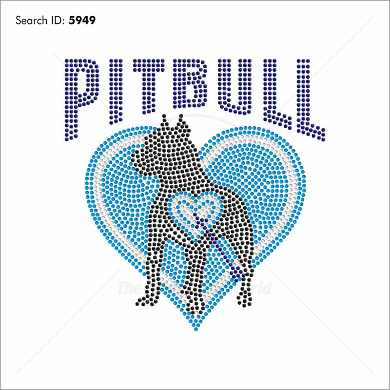 Pitbull Heart 55 Rhinestone Design - Download