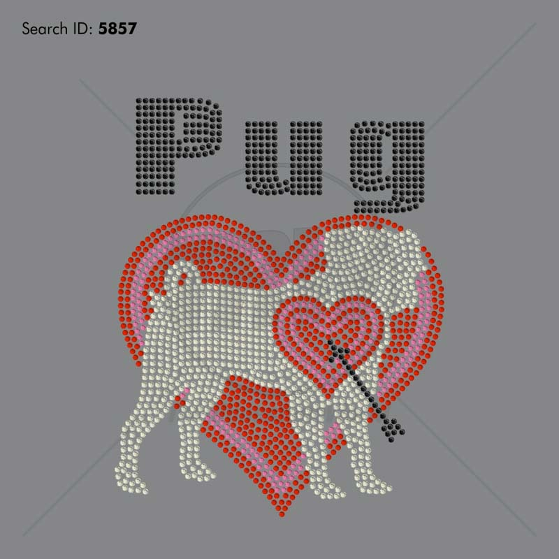 Pug Heart 55 Rhinestone Design - Download