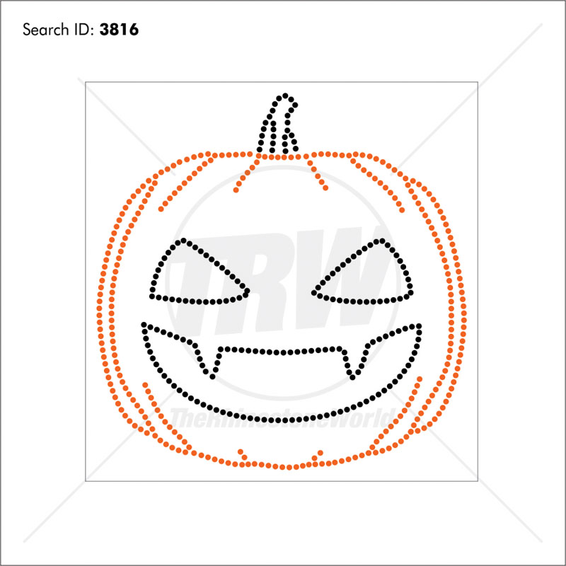 Pumpkinhead Rhinestone Design - Pre-Cut Template