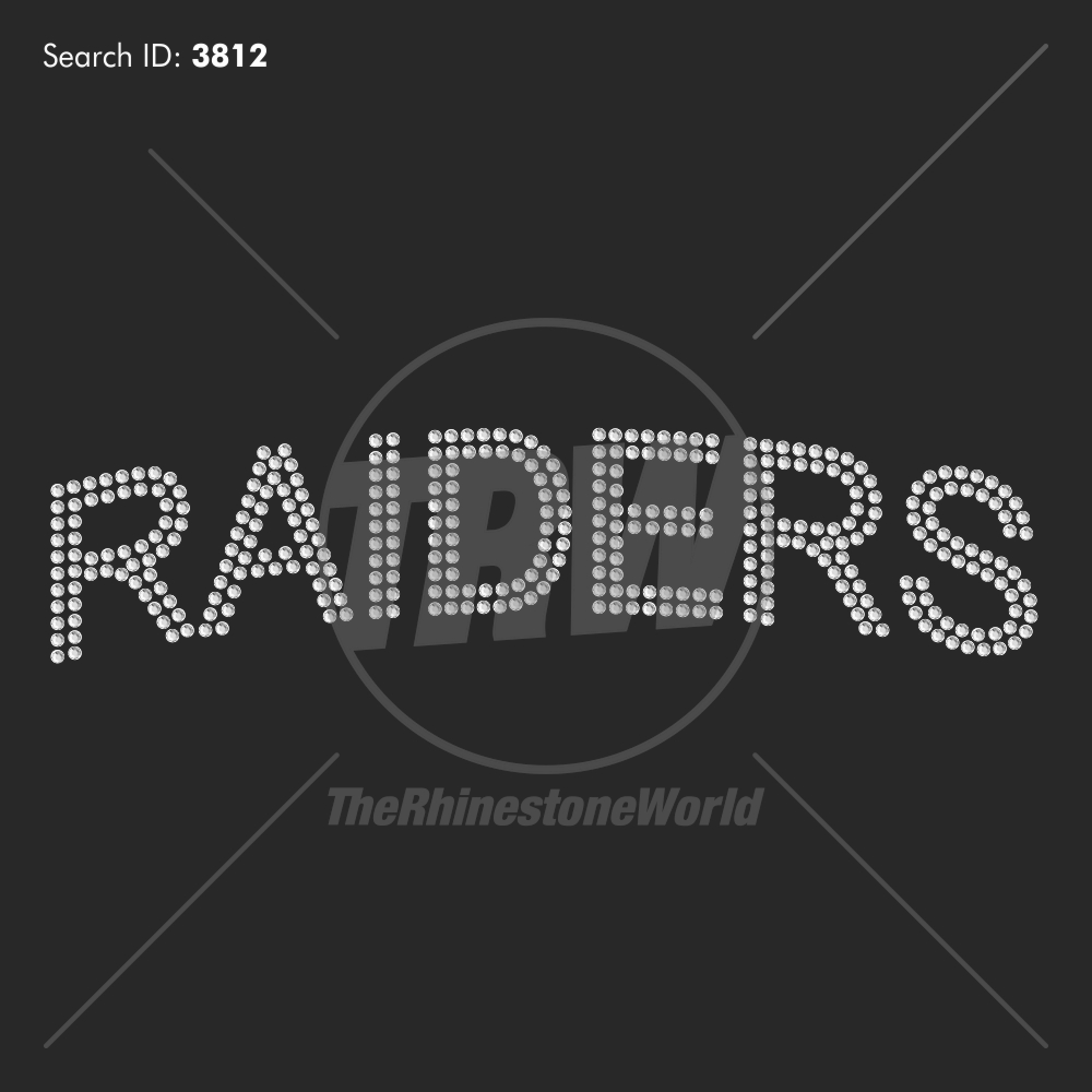 Raiders Mascot Name Rhinestone Design - Pre-Cut Template