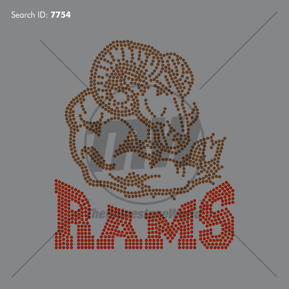 Rams 55 Rhinestone Design - Pre-Cut Template