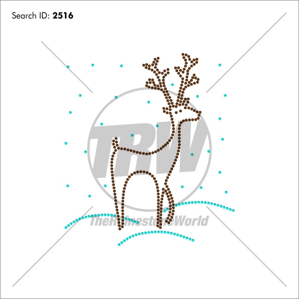 Reindeer Snow Rhinestone Design - Download