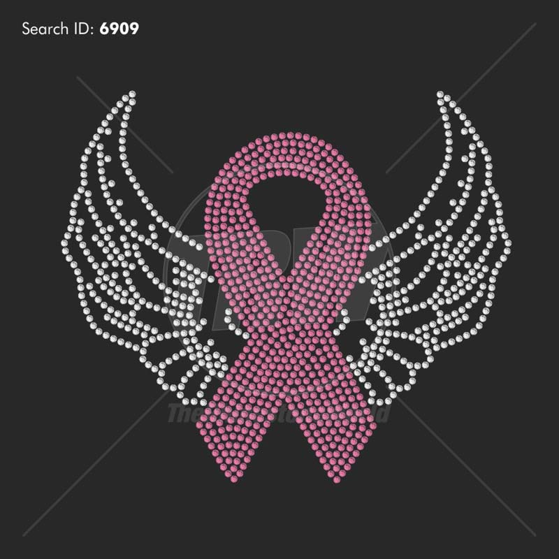 Ribbon With Wings 7 Rhinestone Design - Pre-Cut Template
