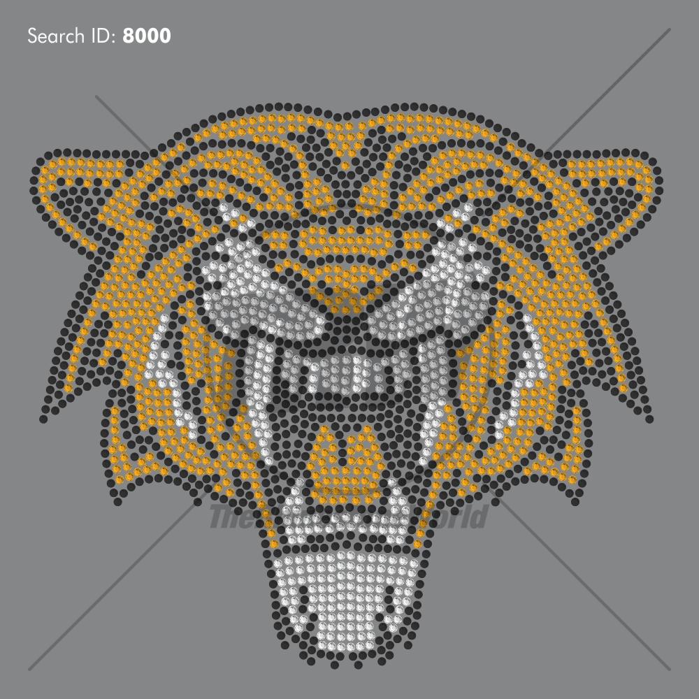 Saber Tooth Tiger Rhinestone Design - Pre-Cut Template