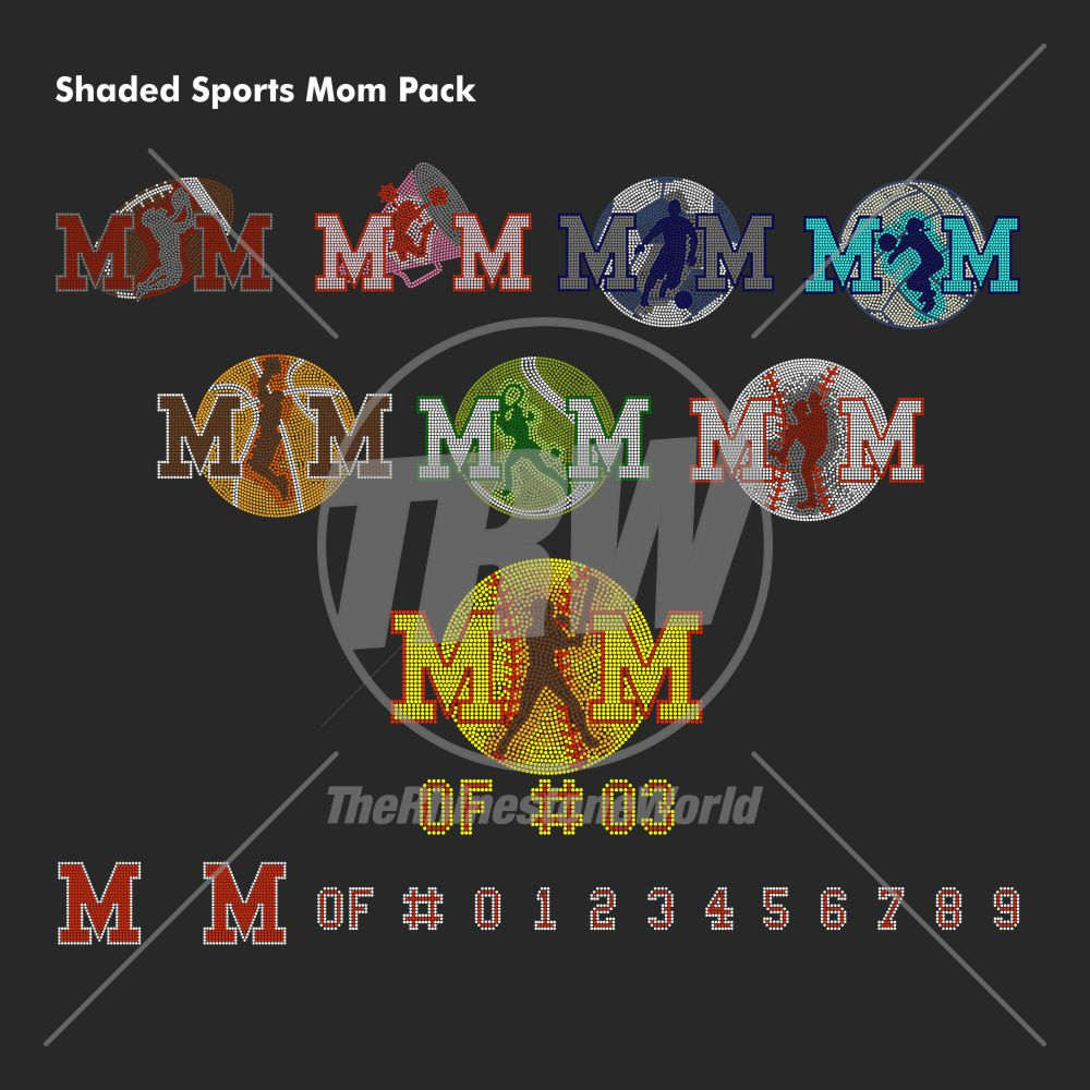 Shaded Mom Sports Pack Rhinestone Design - Pre-Cut Template