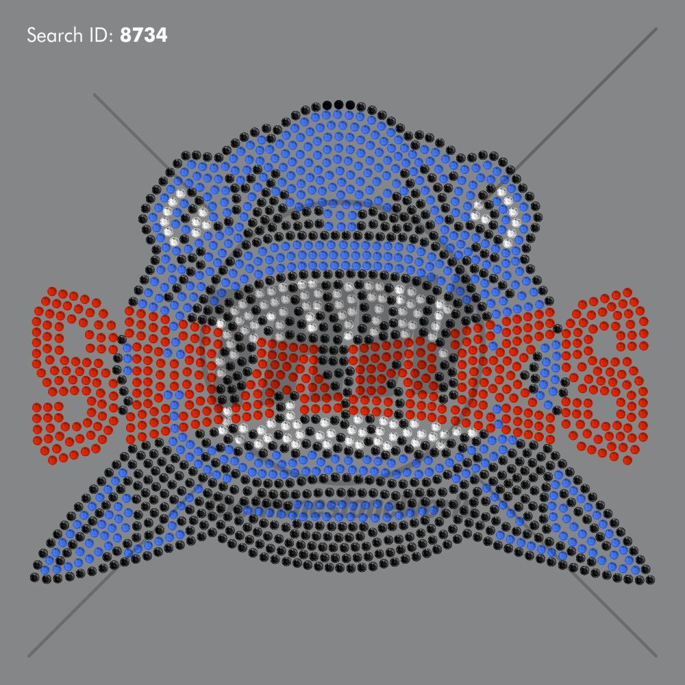 Sharks 66 Rhinestone Design - Pre-Cut Template