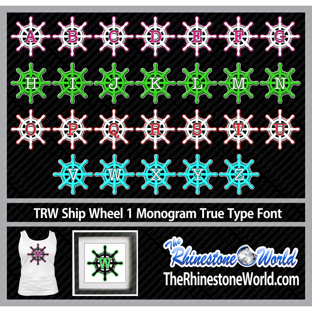 TRW Ship Wheel 1 Monogram HTV True Type Font - Download