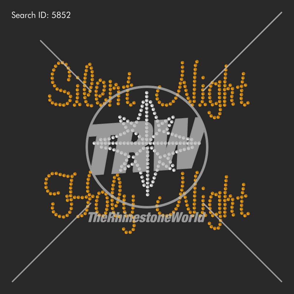 Silent Night Rhinestone Design - Pre-Cut Template