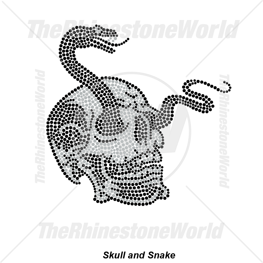 Skull And Snake Rhinestone Design - Pre-Cut Template