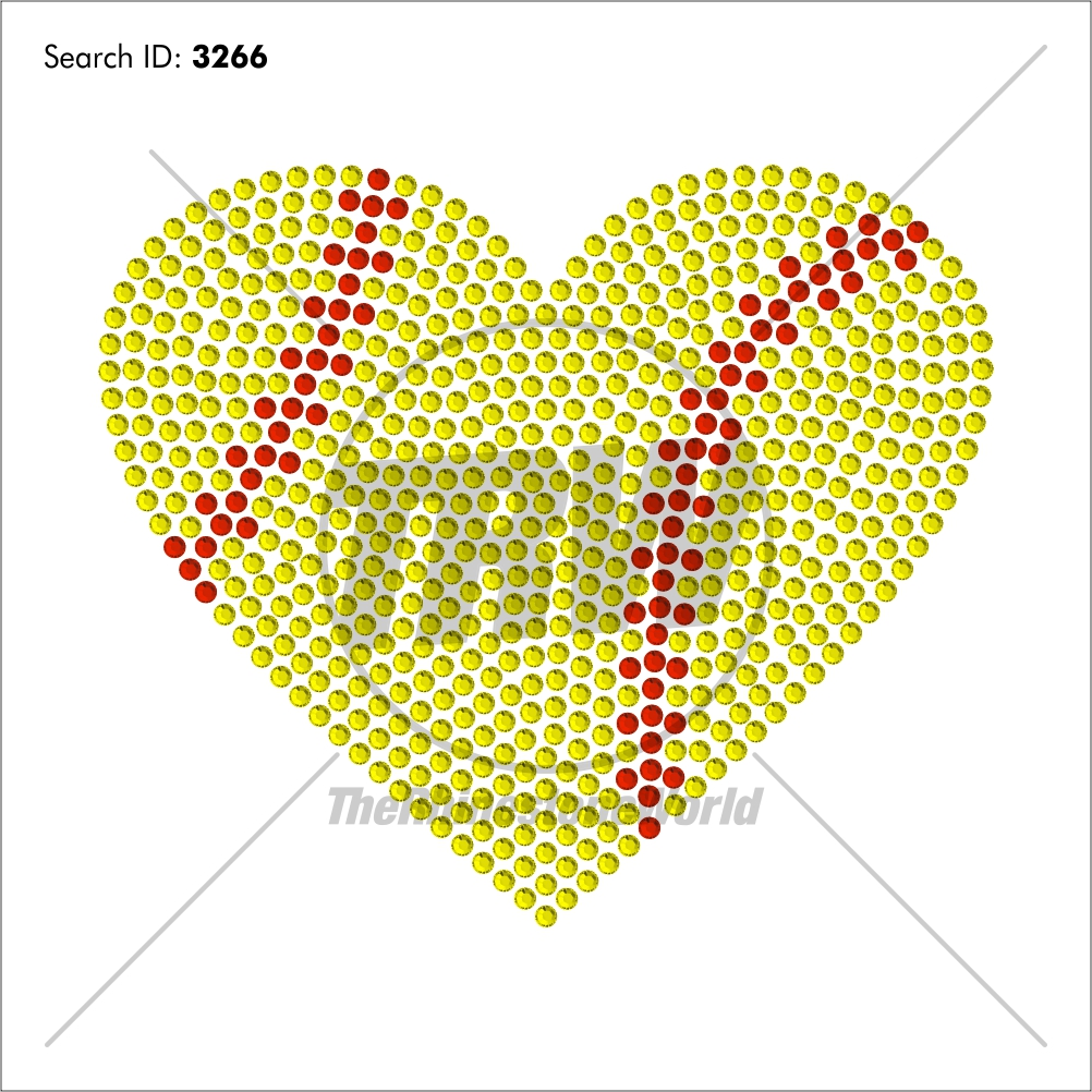 Softball/Baseball Heart Rhinestone Design - Download