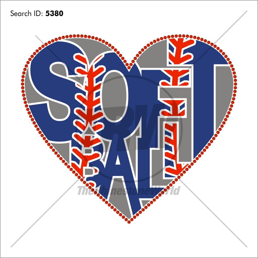 Softball Word Hearts Multi-Dec Design - Download