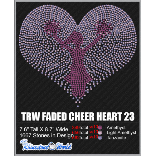 Faded Cheer Heart 23 Design  - Download