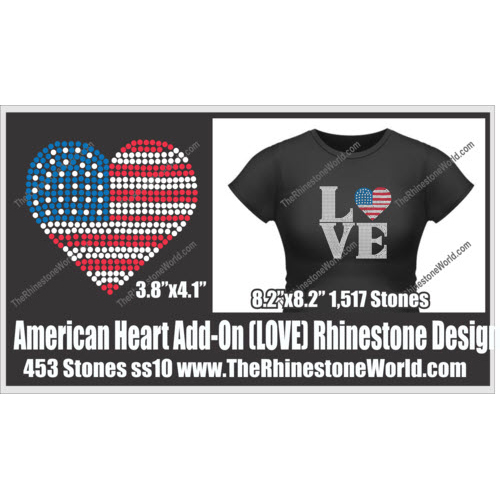 LOVE American Heart Add-On Design  - Download