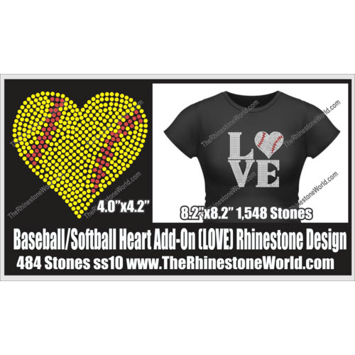 LOVE Baseball/Softball Heart  Rhinestone Design - Download