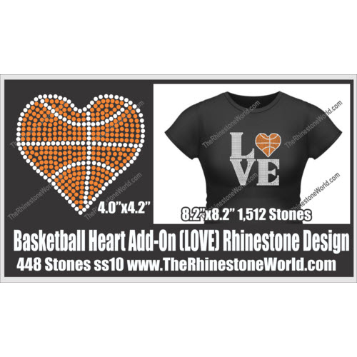 LOVE Basketball Heart Rhinestone Design - Download
