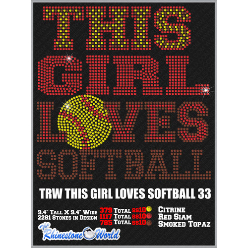 THIS GIRL LOVES SOFTBALL 33 Design  - Download