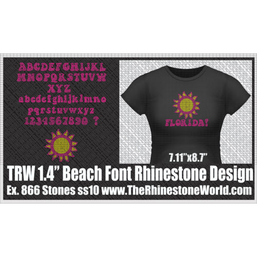 TRW 1 Color BEACH FONT Upper/Lowercase W/Sun Add-On - Download