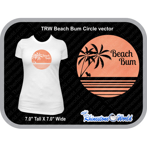 TRW 1 Color Beach bum circle Vector  - Download